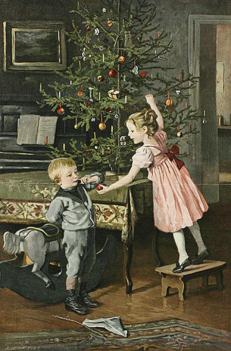 Открытки, дети наряжают елку открытка